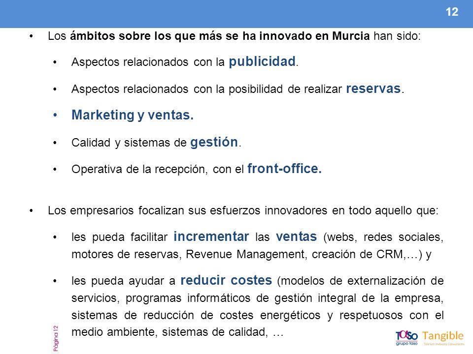 12 Página 12 Los ámbitos sobre los que más se ha innovado en Murcia han sido: Aspectos relacionados con la publicidad.