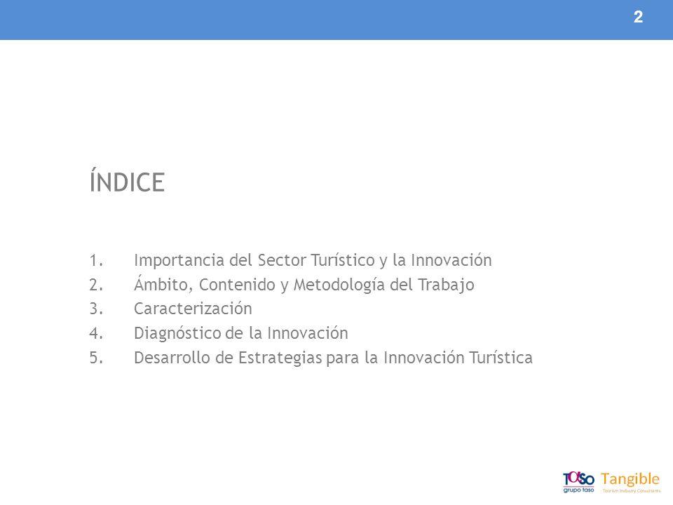 2 ÍNDICE 1.Importancia del Sector Turístico y la Innovación 2.Ámbito, Contenido y Metodología del Trabajo 3.Caracterización 4.Diagnóstico de la Innovación 5.Desarrollo de Estrategias para la Innovación Turística