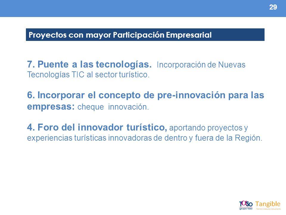 29 7. Puente a las tecnologías. Incorporación de Nuevas Tecnologías TIC al sector turístico.