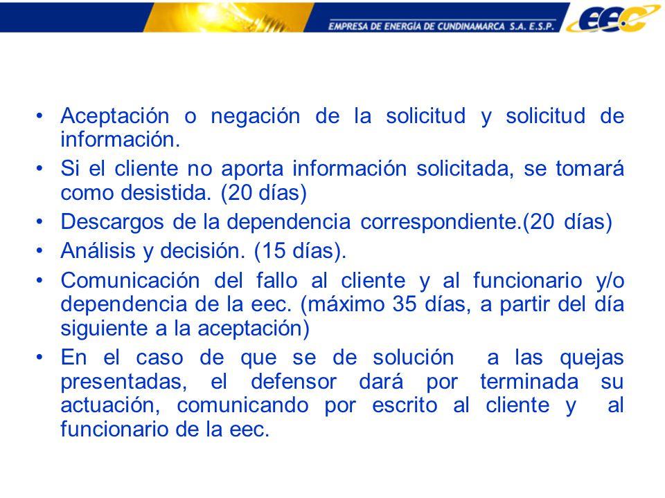 Aceptación o negación de la solicitud y solicitud de información. Si el cliente no aporta información solicitada, se tomará como desistida. (20 días)