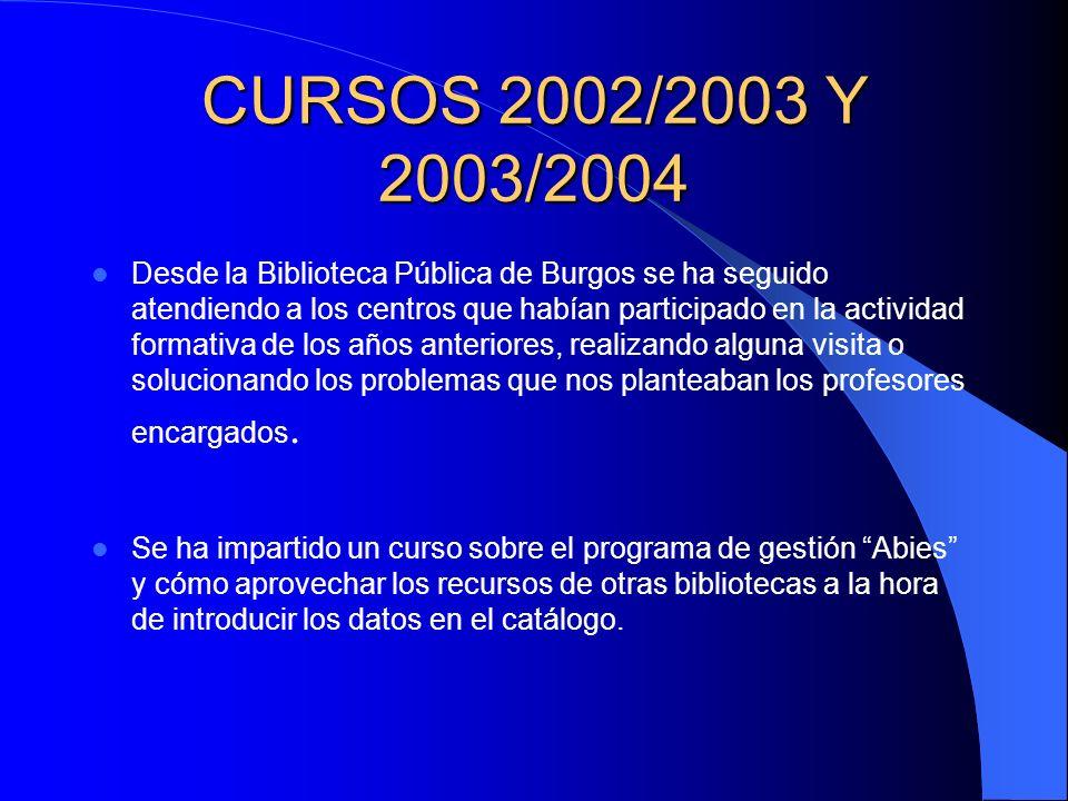 CURSOS 2002/2003 Y 2003/2004 Desde la Biblioteca Pública de Burgos se ha seguido atendiendo a los centros que habían participado en la actividad formativa de los años anteriores, realizando alguna visita o solucionando los problemas que nos planteaban los profesores encargados.