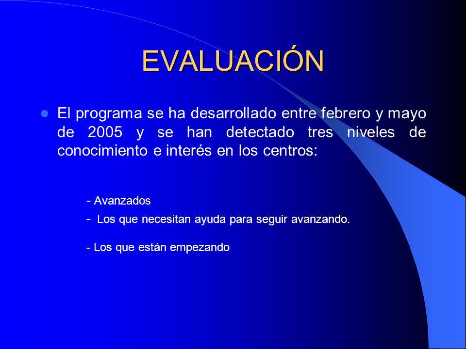 EVALUACIÓN El programa se ha desarrollado entre febrero y mayo de 2005 y se han detectado tres niveles de conocimiento e interés en los centros: - Avanzados - Los que necesitan ayuda para seguir avanzando.