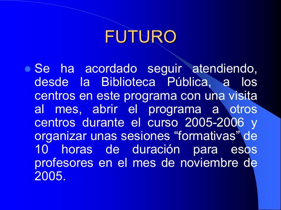 FUTURO Se ha acordado seguir atendiendo, desde la Biblioteca Pública, a los centros en este programa con una visita al mes, abrir el programa a otros centros durante el curso 2005-2006 y organizar unas sesiones formativas de 10 horas de duración para esos profesores en el mes de noviembre de 2005.