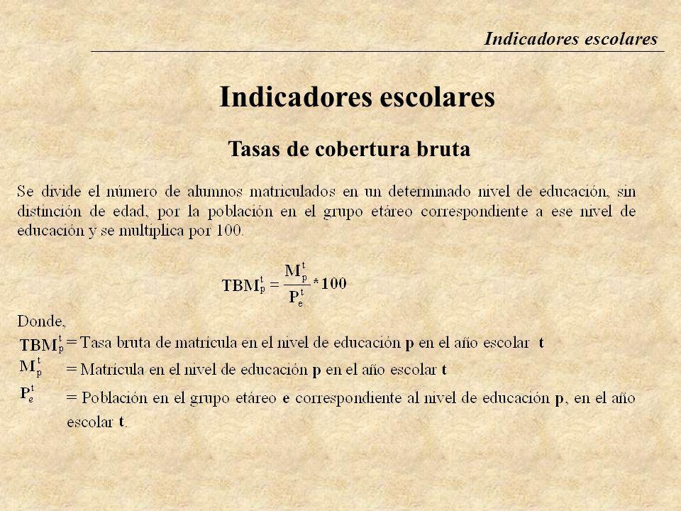 Indicadores escolares Tasa de cobertura bruta La tasa de cobertura bruta se define como el total de niños matriculados en un determinado nivel de educ