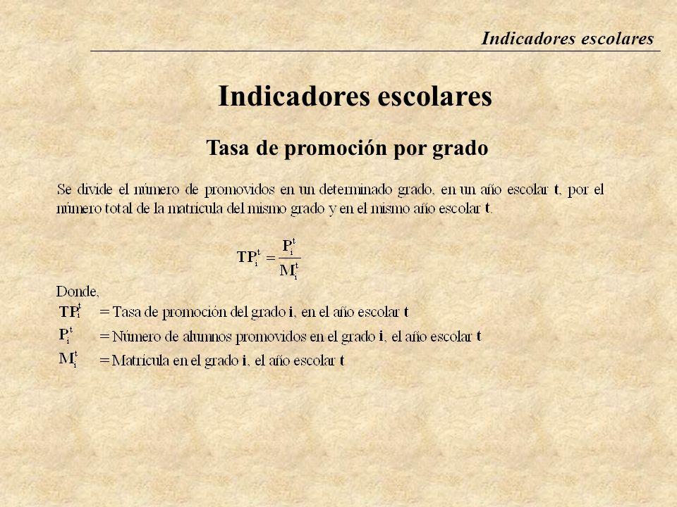 Indicadores escolares Tasa de promoción por grado La tasa de promoción por grado se define como la proporción de la matrícula de alumnos de un grado d