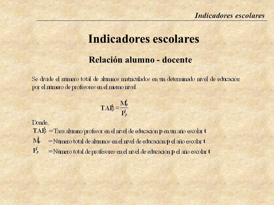 Indicadores escolares Relación alumno - docente La relación alumno/docente se define como el número promedio de alumnos por docente en un determinado