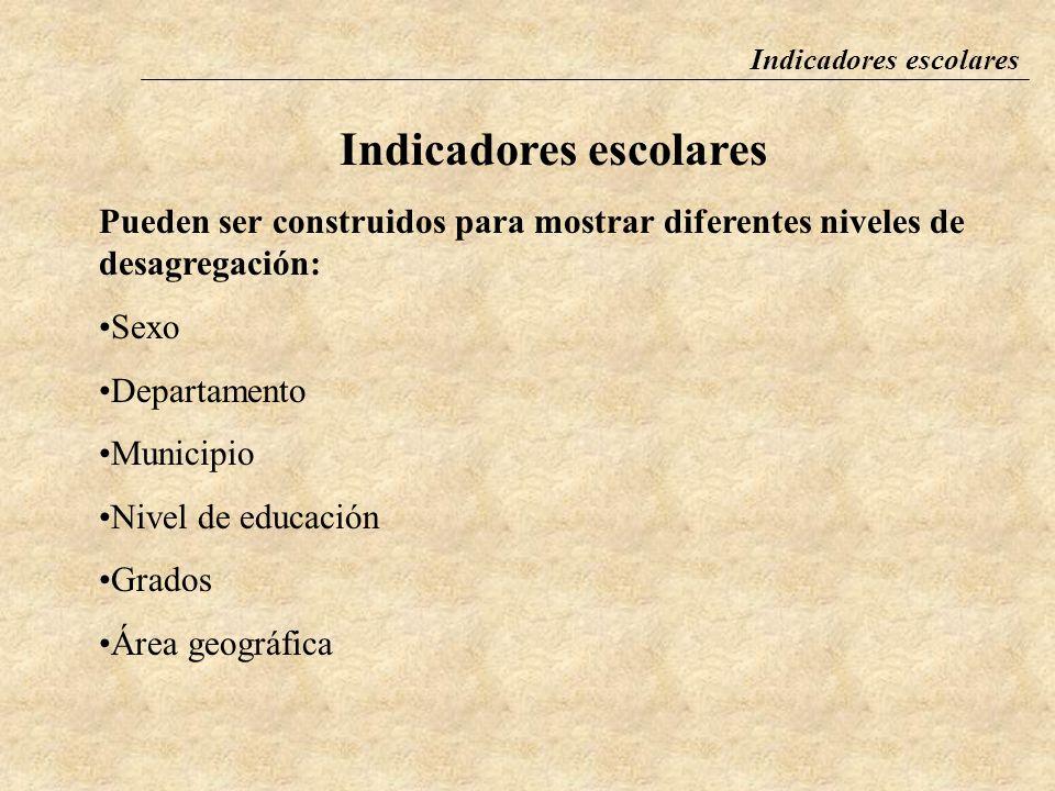 Indicadores escolares Los indicadores miden los avances y resultados del Sistema Educativo Nacional (SEN) y la situación del Programa de Reforma Educativa (PRE).