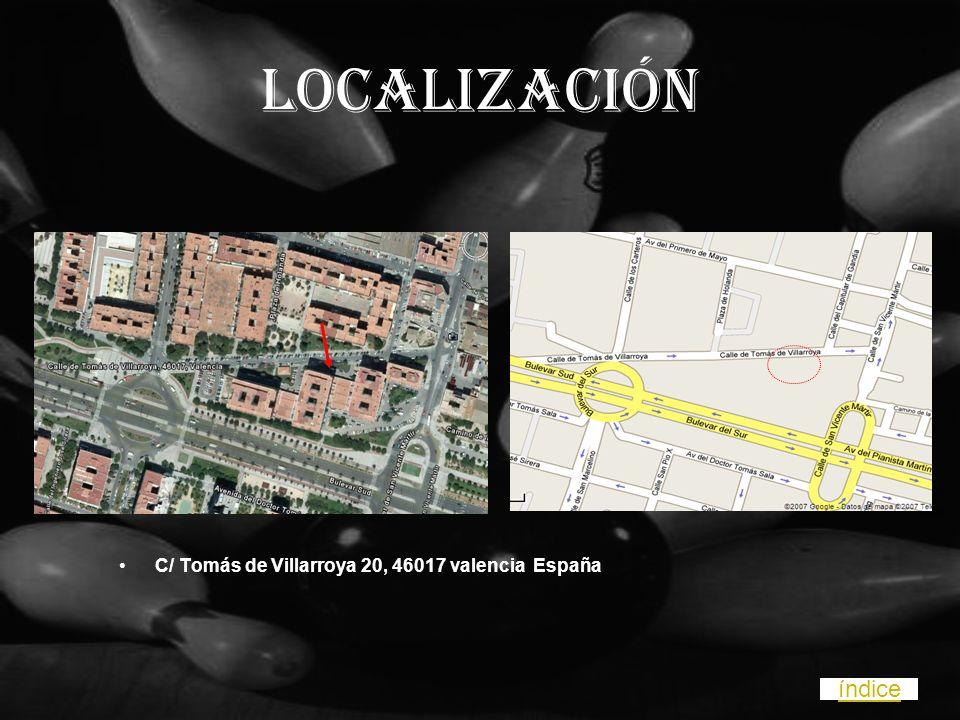 LOCALIZACIÓN C/ Tomás de Villarroya 20, 46017 valencia España índice