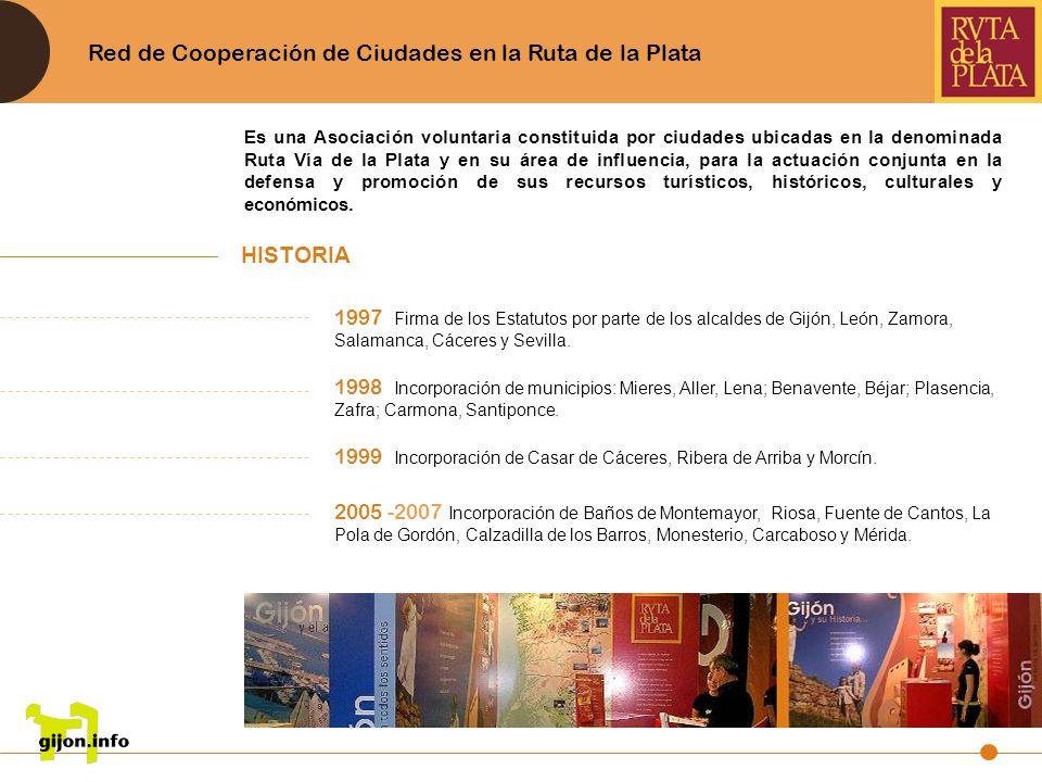 Red de Cooperación de Ciudades en la Ruta de la Plata 1997 Firma de los Estatutos por parte de los alcaldes de Gijón, León, Zamora, Salamanca, Cáceres
