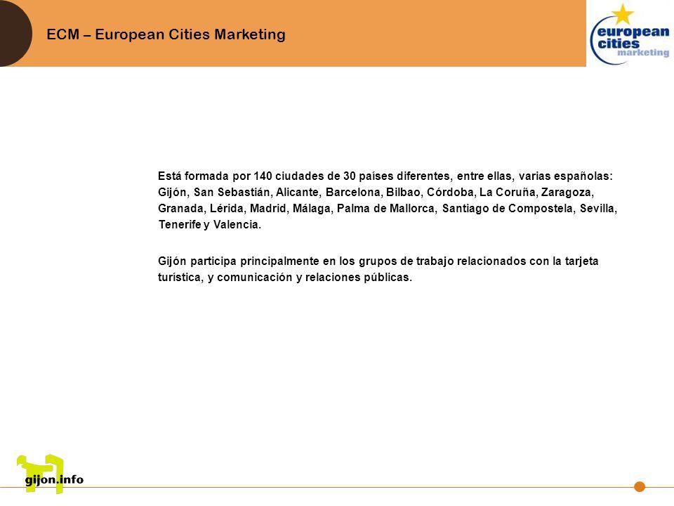 ECM – European Cities Marketing Está formada por 140 ciudades de 30 países diferentes, entre ellas, varias españolas: Gijón, San Sebastián, Alicante,