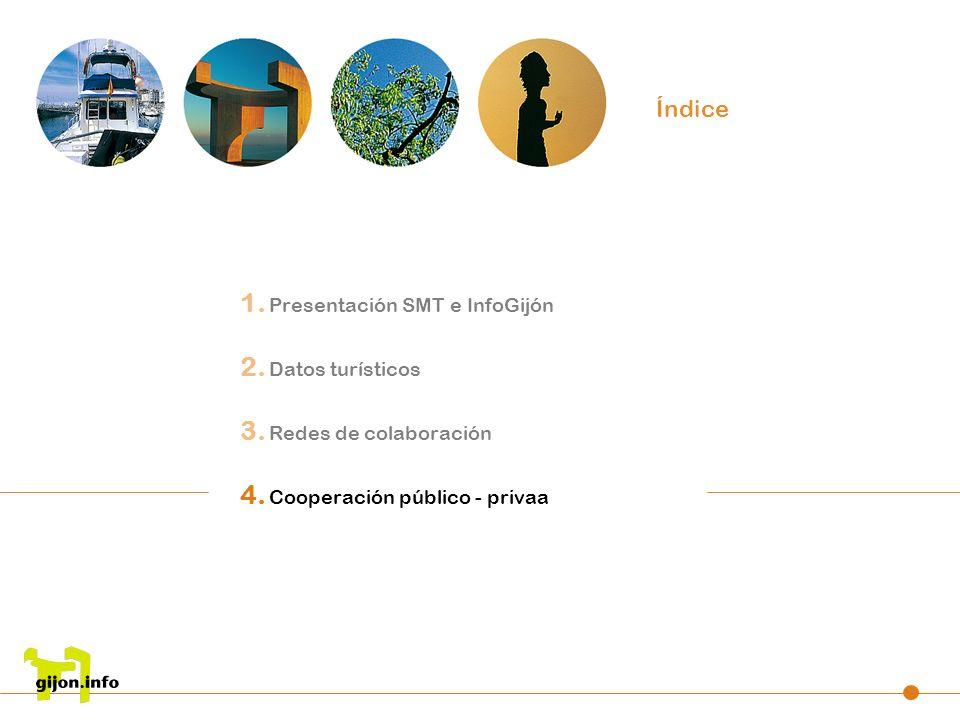 1. Presentación SMT e InfoGijón 2. Datos turísticos 3. Redes de colaboración 4. Cooperación público - privaa Índice