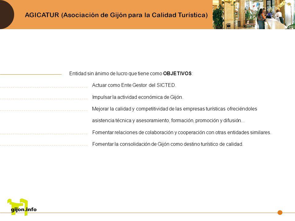 AGICATUR (Asociación de Gijón para la Calidad Turística) Entidad sin ánimo de lucro que tiene como OBJETIVOS: Actuar como Ente Gestor del SICTED. Impu