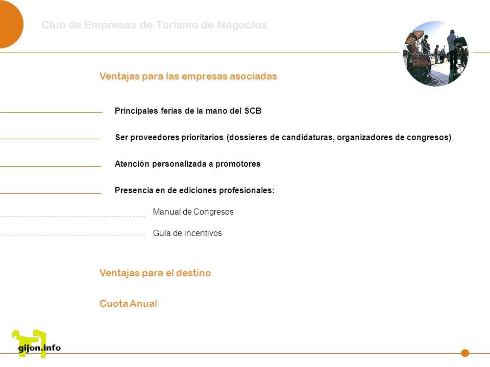 Club de Empresas de Turismo de Negocios Principales ferias de la mano del SCB Ser proveedores prioritarios (dossieres de candidaturas, organizadores d
