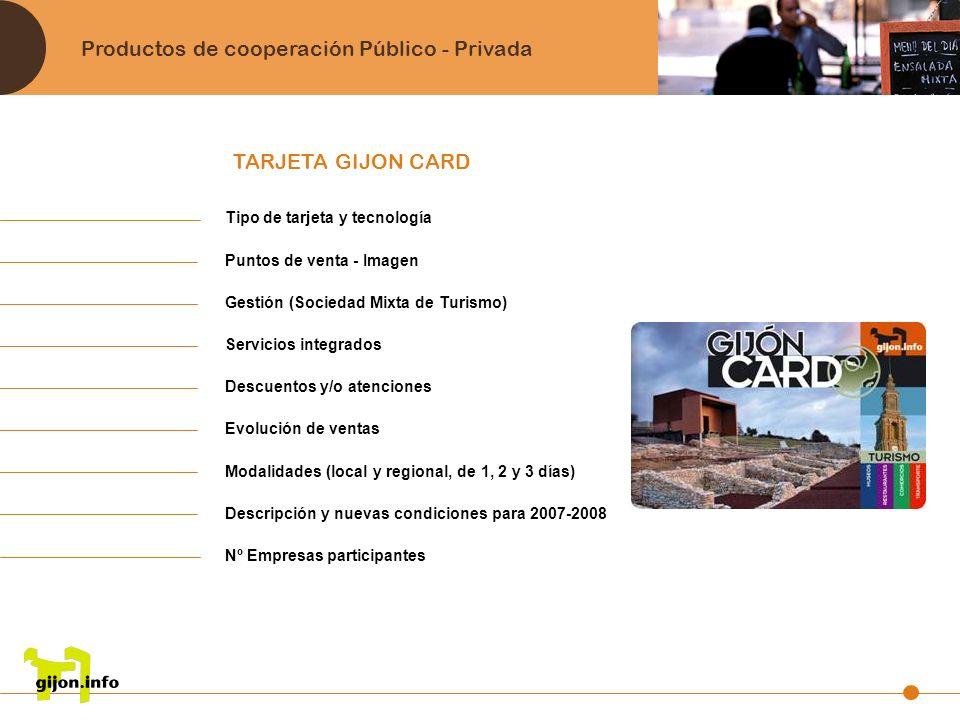 Productos de cooperación Público - Privada TARJETA GIJON CARD Tipo de tarjeta y tecnología Puntos de venta - Imagen Gestión (Sociedad Mixta de Turismo