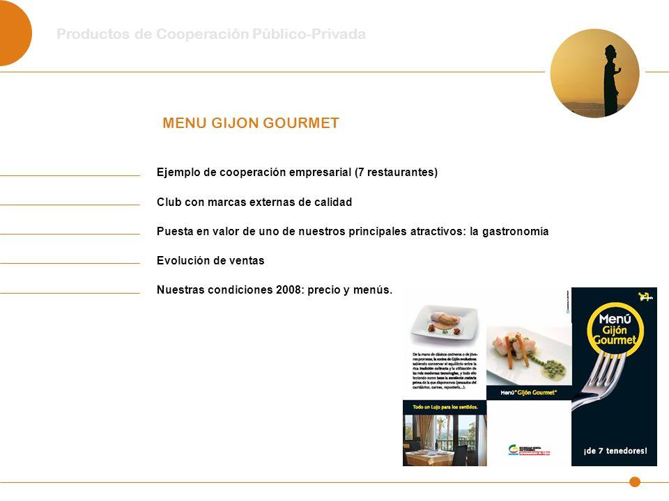 Productos de Cooperación Público-Privada MENU GIJON GOURMET Ejemplo de cooperación empresarial (7 restaurantes) Club con marcas externas de calidad Pu