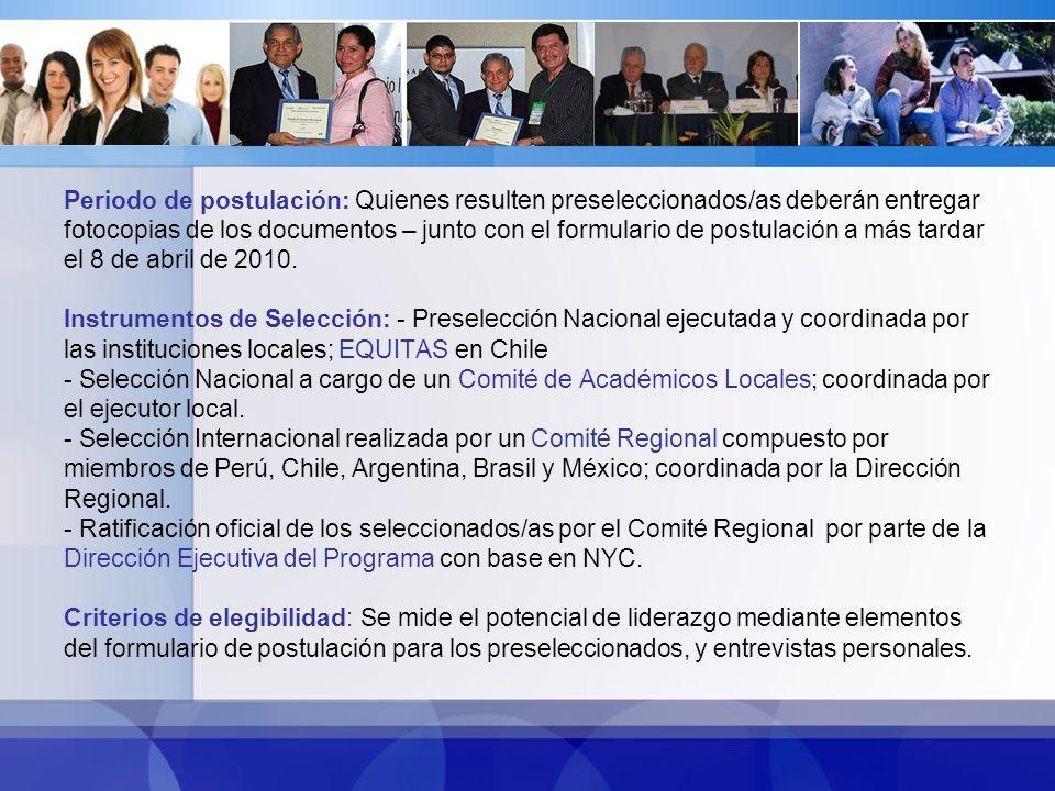 Institución que la otorga: Comisión Fullbright Chile Propósitos de la Institución: Fue creada para promover la mutua comprensión entre la sociedad chilena y estadounidense, teniendo como objetivo principal estimular el estudio y la investigación a través del intercambio educacional.