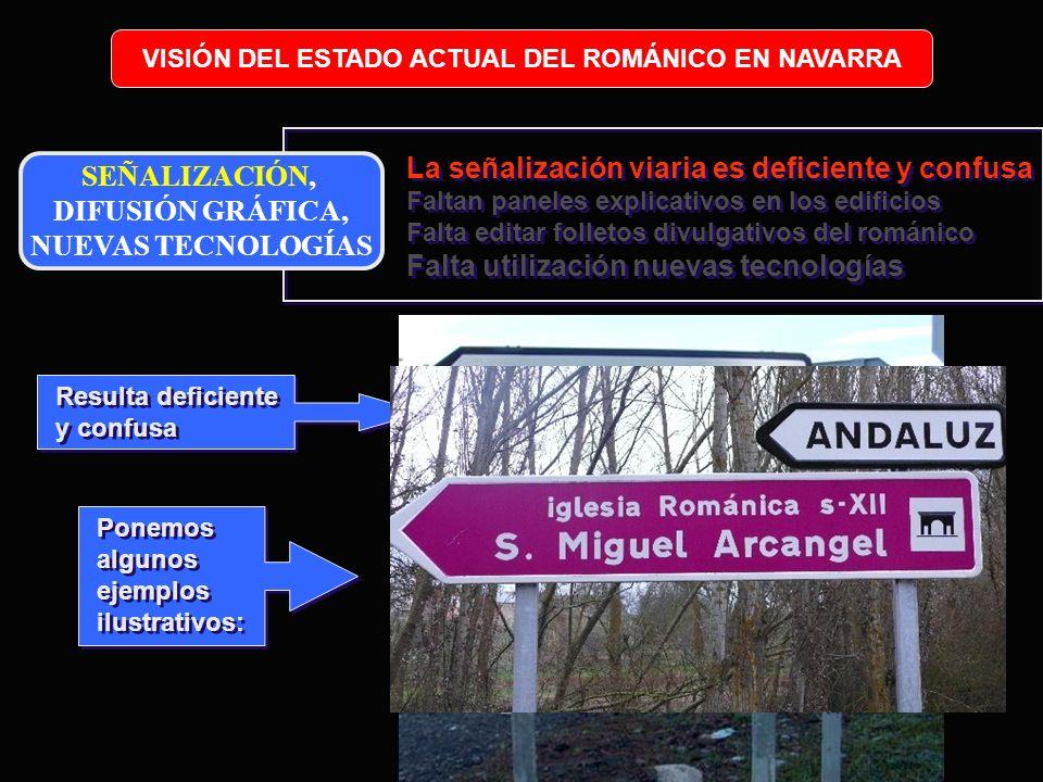 Resulta deficiente y confusa VISIÓN DEL ESTADO ACTUAL DEL ROMÁNICO EN NAVARRA Ponemos algunos ejemplos ilustrativos: SEÑALIZACIÓN, DIFUSIÓN GRÁFICA, N
