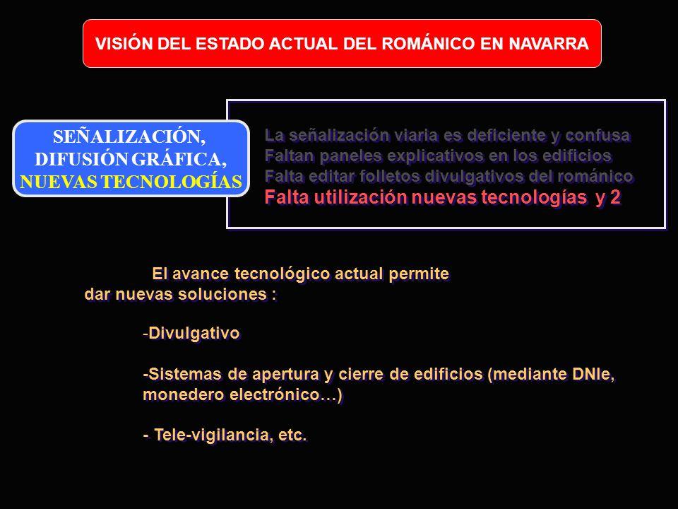 VISIÓN DEL ESTADO ACTUAL DEL ROMÁNICO EN NAVARRA SEÑALIZACIÓN, DIFUSIÓN GRÁFICA, NUEVAS TECNOLOGÍAS La señalización viaria es deficiente y confusa Fal