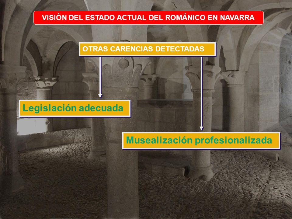 VISIÓN DEL ESTADO ACTUAL DEL ROMÁNICO EN NAVARRA OTRAS CARENCIAS DETECTADAS Legislación adecuada Musealización profesionalizada