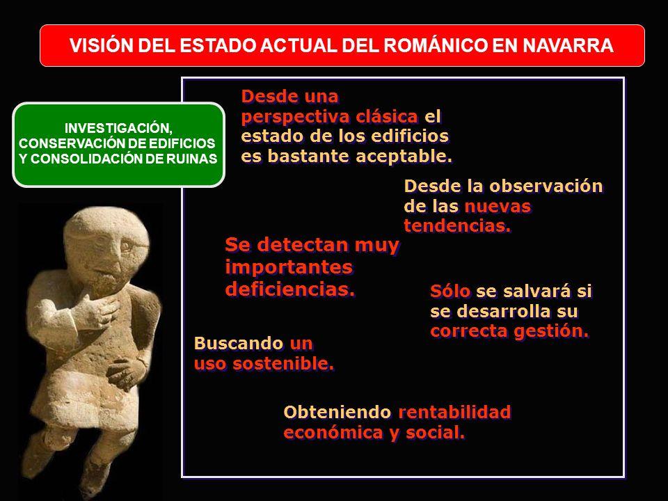 VISIÓN DEL ESTADO ACTUAL DEL ROMÁNICO EN NAVARRA INVESTIGACIÓN, CONSERVACIÓN DE EDIFICIOS Y CONSOLIDACIÓN DE RUINAS Desde una perspectiva clásica el e