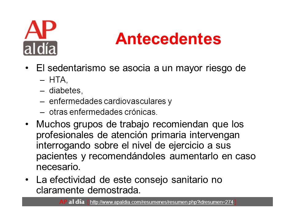 El consejo sanitario de promoción del ejercicio físico de tiempo libre en atención primaria es eficaz AP al día [ http://www.apaldia.com/resumenes/resumen.php idresumen=274 ] Herrera-Sánchez B, Mansilla-Domínguez JM, Perdigón- Florencio P, Bermejo-Caja C.