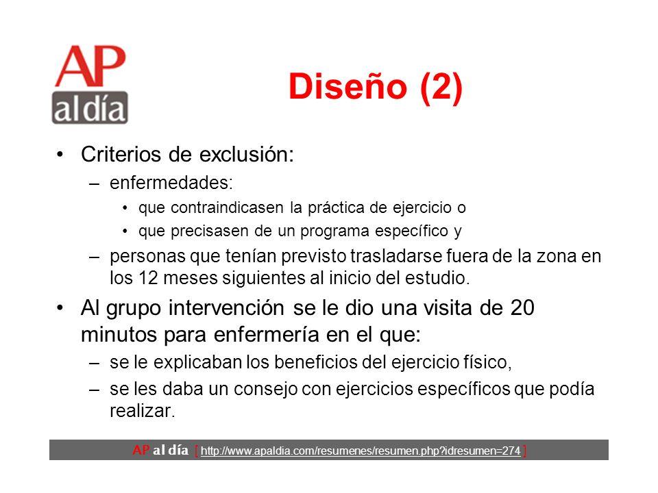 AP al día [ http://www.apaldia.com/resumenes/resumen.php idresumen=274 ] Diseño (1) Ensayo clínico.