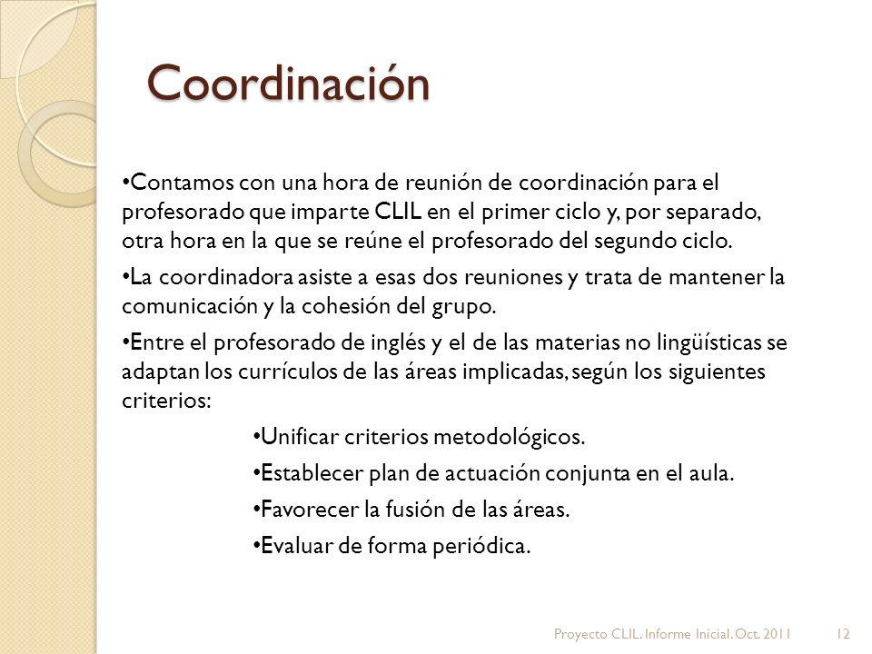 Coordinación Contamos con una hora de reunión de coordinación para el profesorado que imparte CLIL en el primer ciclo y, por separado, otra hora en la que se reúne el profesorado del segundo ciclo.