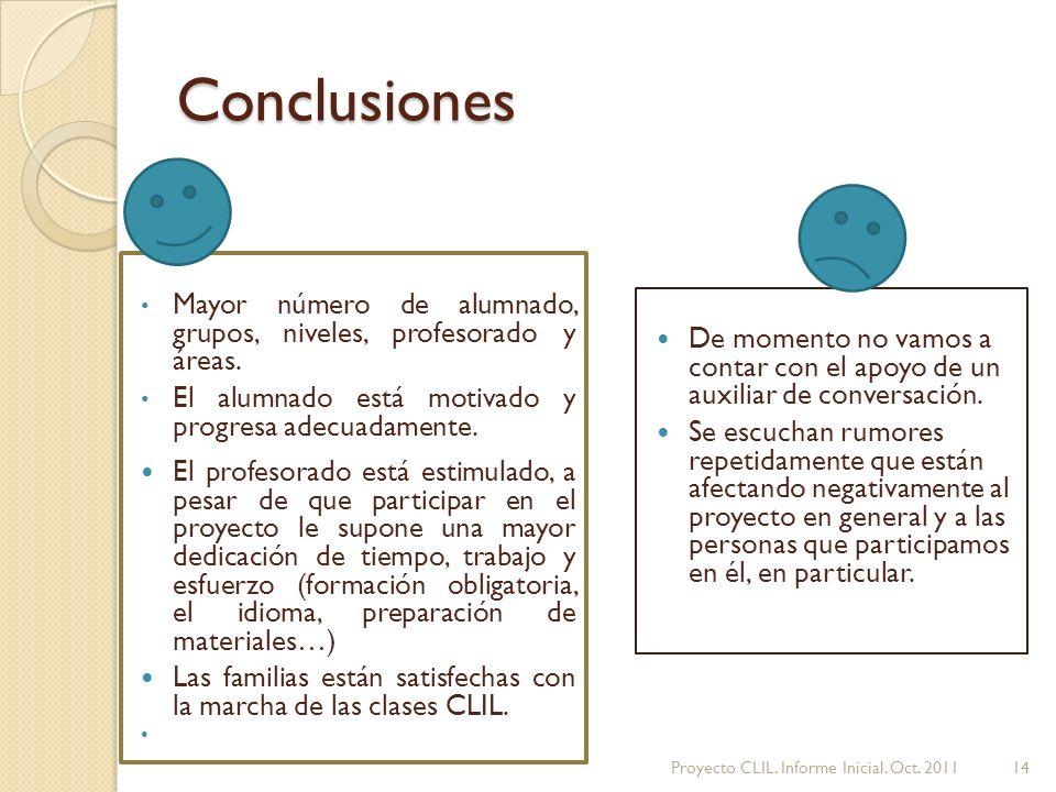 Conclusiones Mayor número de alumnado, grupos, niveles, profesorado y áreas.
