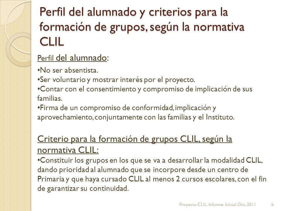 Perfil del alumnado y criterios para la formación de grupos, según la normativa CLIL Perfil del alumnado: No ser absentista.