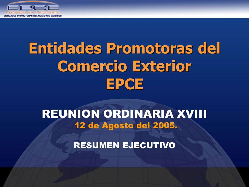 REUNION ORDINARIA XVIII 12 de Agosto del 2005. RESUMEN EJECUTIVO Entidades Promotoras del Comercio Exterior EPCE