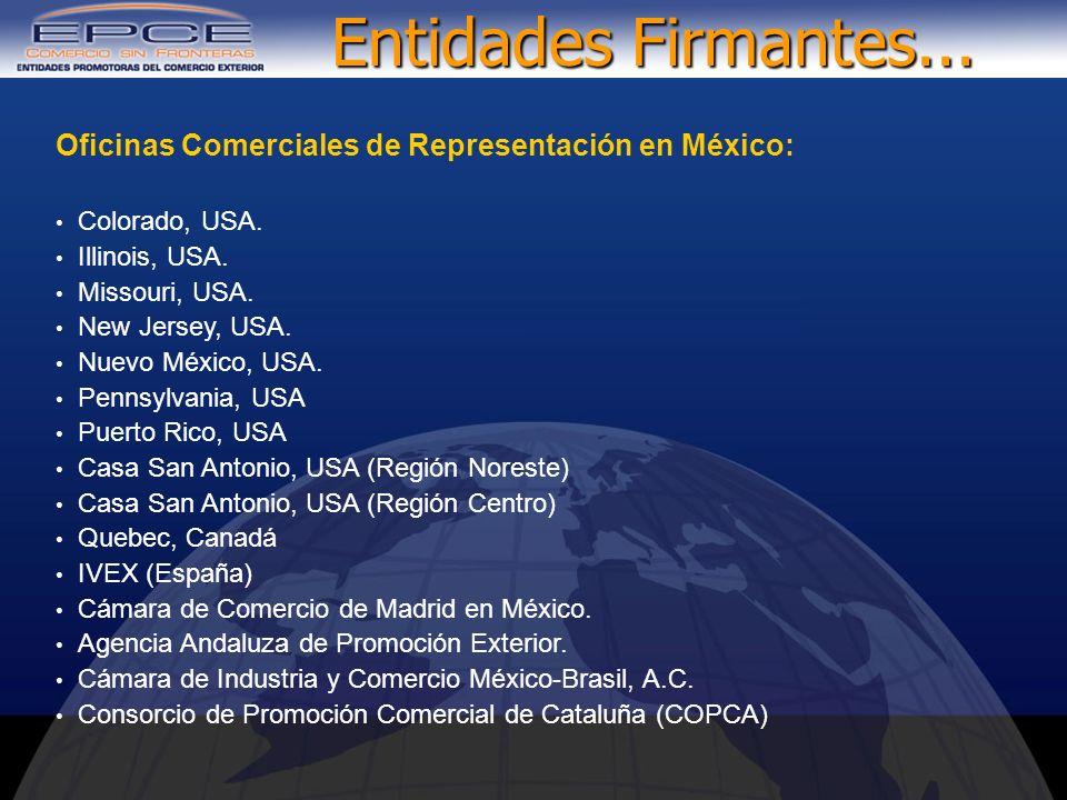 Oficinas Comerciales de Representación en México: Colorado, USA. Illinois, USA. Missouri, USA. New Jersey, USA. Nuevo México, USA. Pennsylvania, USA P