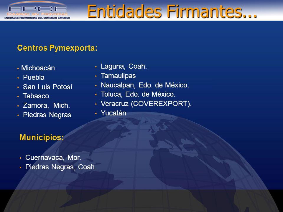 Municipios: Cuernavaca, Mor. Piedras Negras, Coah. Centros Pymexporta: Michoacán Puebla San Luis Potosí Tabasco Zamora, Mich. Piedras Negras Laguna, C