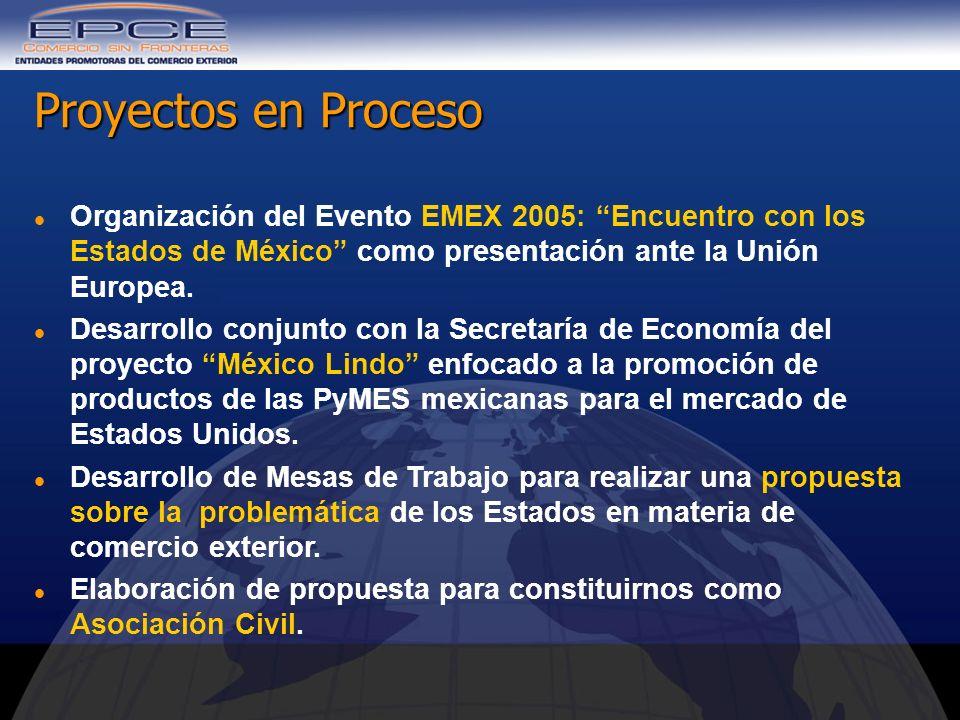 Organización del Evento EMEX 2005: Encuentro con los Estados de México como presentación ante la Unión Europea. Desarrollo conjunto con la Secretaría