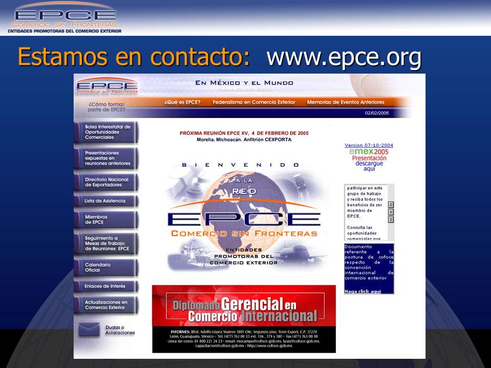 Estamos en contacto: www.epce.org