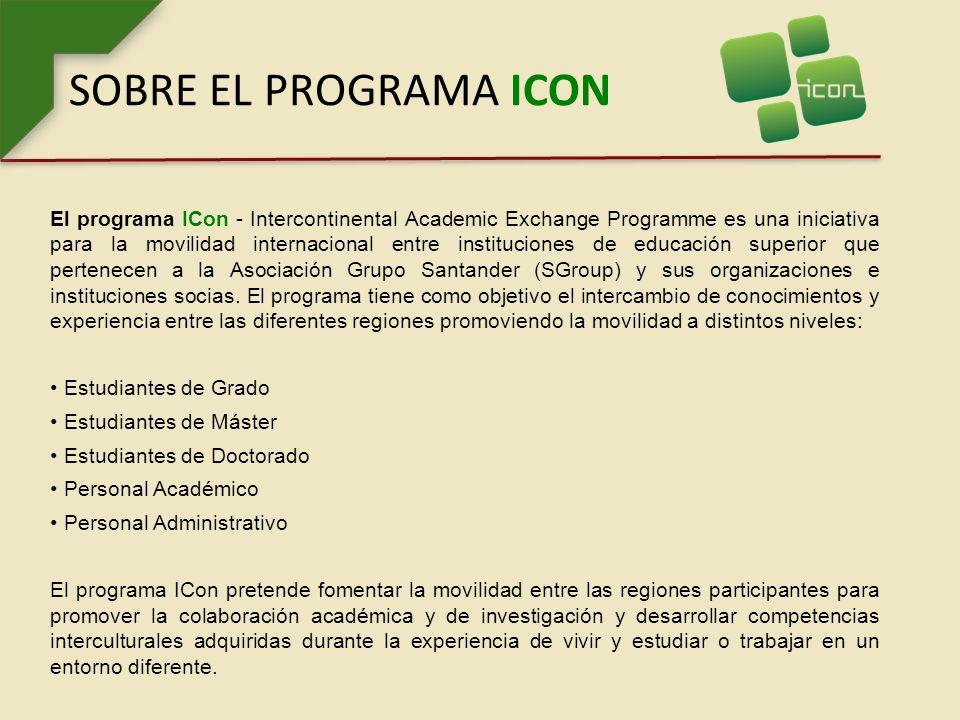 SOBRE EL PROGRAMA ICON El programa ICon - Intercontinental Academic Exchange Programme es una iniciativa para la movilidad internacional entre instituciones de educación superior que pertenecen a la Asociación Grupo Santander (SGroup) y sus organizaciones e instituciones socias.