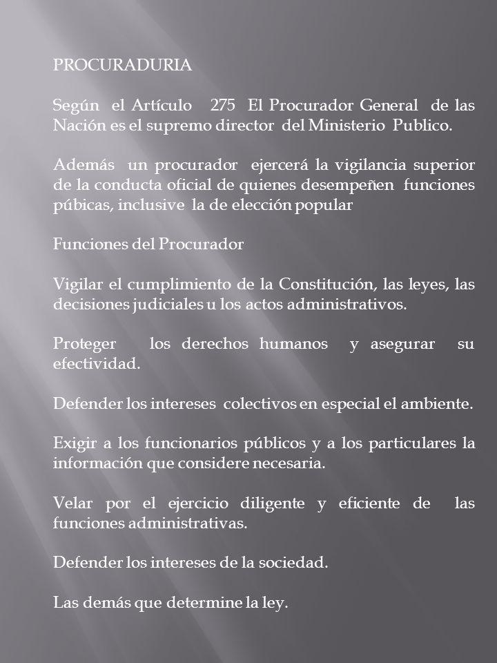 PROCURADURIA Según el Artículo 275 El Procurador General de las Nación es el supremo director del Ministerio Publico. Además un procurador ejercerá la