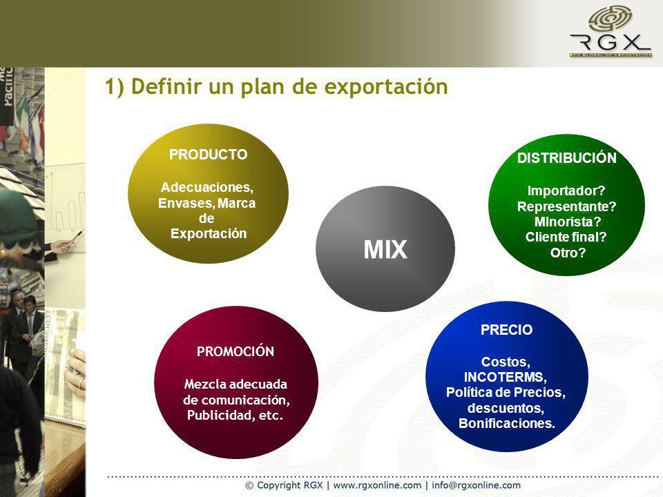 1) Definir un plan de exportación MIX PRECIO Costos, INCOTERMS, Política de Precios, descuentos, Bonificaciones. DISTRIBUCIÓN Importador? Representant