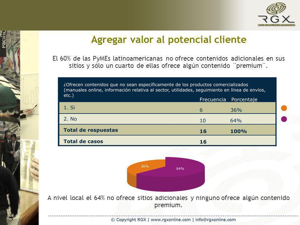 Agregar valor al potencial cliente El 60% de las PyMEs latinoamericanas no ofrece contenidos adicionales en sus sitios y sólo un cuarto de ellas ofrece algún contenido ¨premium¨.