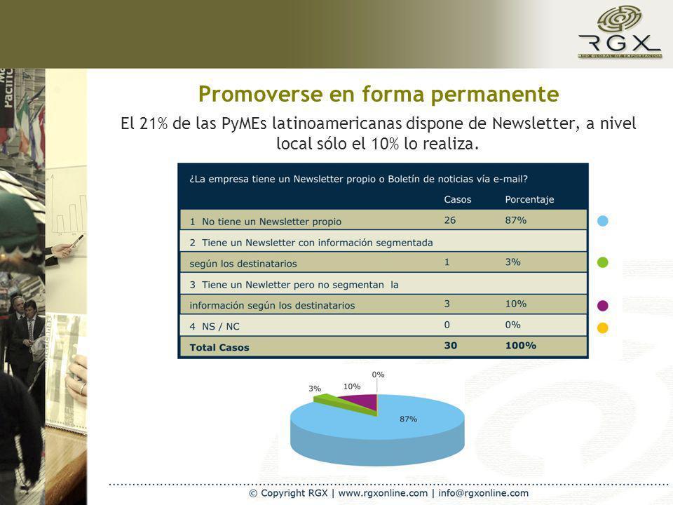 Promoverse en forma permanente El 21% de las PyMEs latinoamericanas dispone de Newsletter, a nivel local sólo el 10% lo realiza.