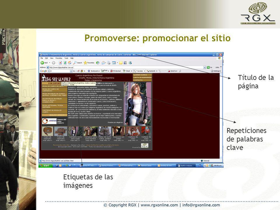 Promoverse: promocionar el sitio Título de la página Etiquetas de las imágenes Repeticiones de palabras clave