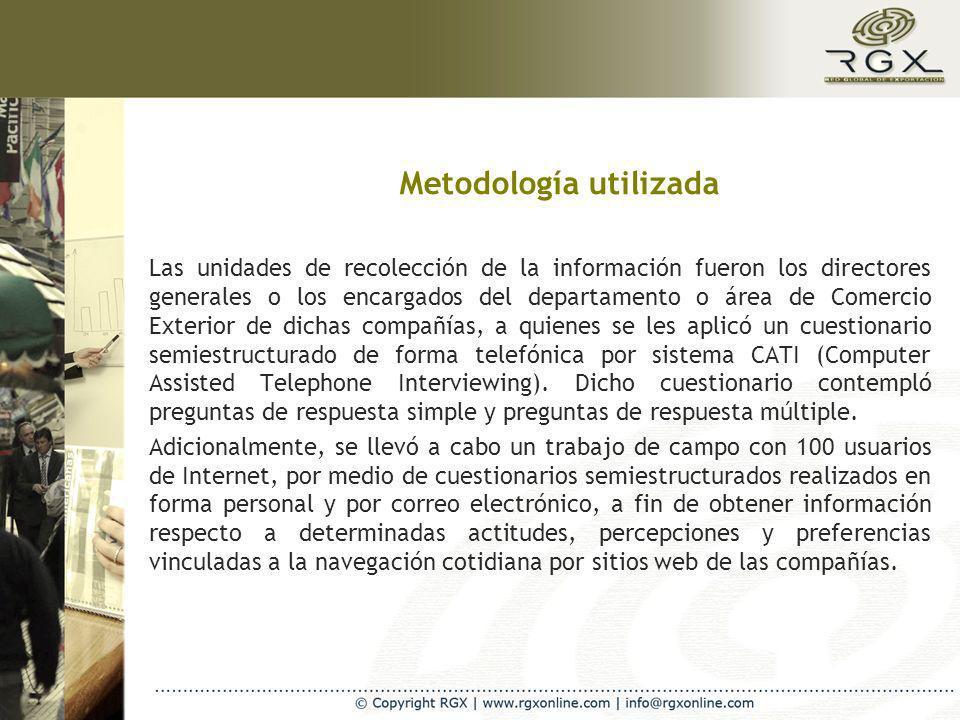 Metodología utilizada Las unidades de recolección de la información fueron los directores generales o los encargados del departamento o área de Comerc