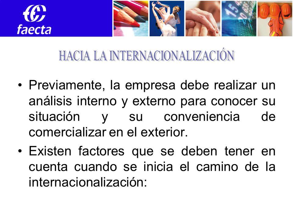 Previamente, la empresa debe realizar un análisis interno y externo para conocer su situación y su conveniencia de comercializar en el exterior.