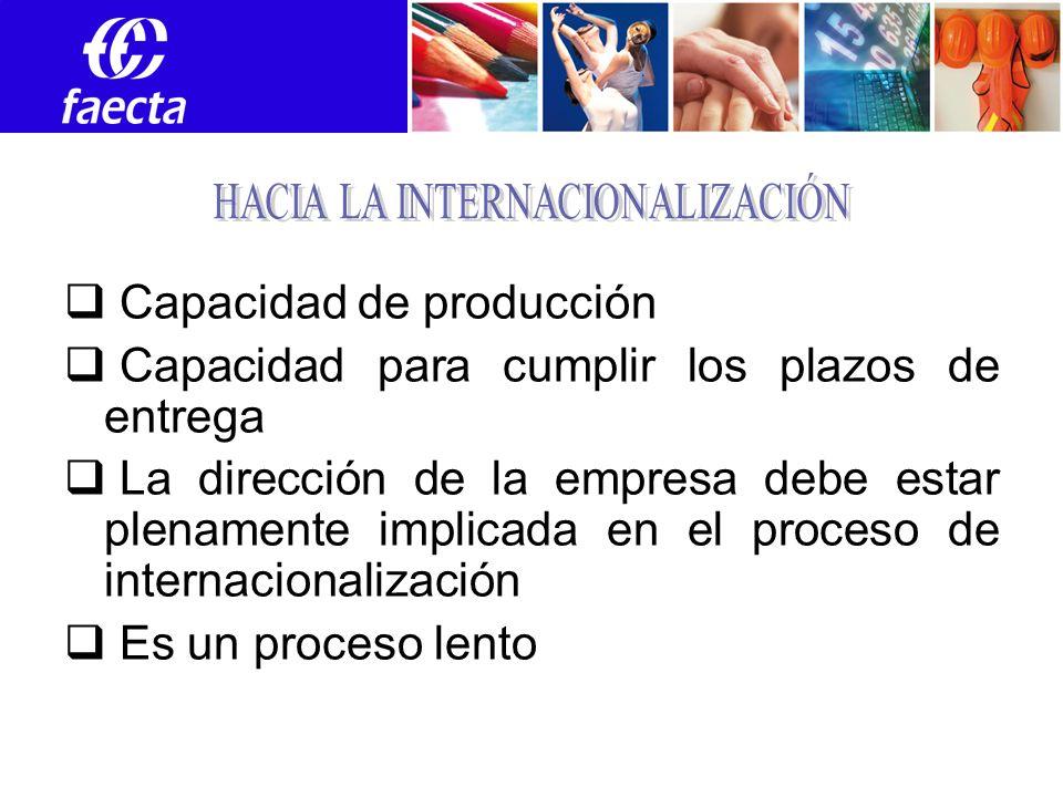 Capacidad de producción Capacidad para cumplir los plazos de entrega La dirección de la empresa debe estar plenamente implicada en el proceso de internacionalización Es un proceso lento