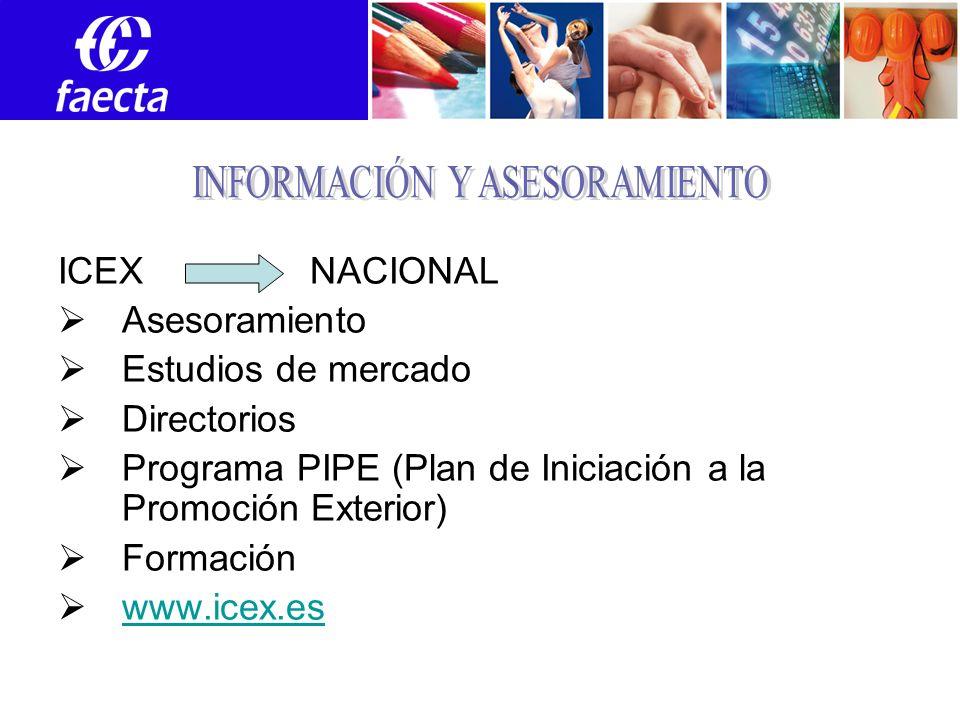 ICEX NACIONAL Asesoramiento Estudios de mercado Directorios Programa PIPE (Plan de Iniciación a la Promoción Exterior) Formación www.icex.es