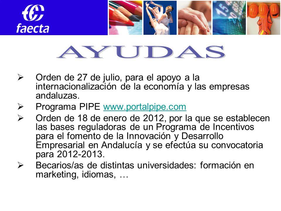 Orden de 27 de julio, para el apoyo a la internacionalización de la economía y las empresas andaluzas.