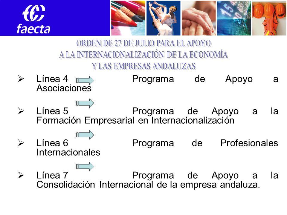 Línea 4 Programa de Apoyo a Asociaciones Línea 5Programa de Apoyo a la Formación Empresarial en Internacionalización Línea 6Programa de Profesionales Internacionales Línea 7Programa de Apoyo a la Consolidación Internacional de la empresa andaluza.