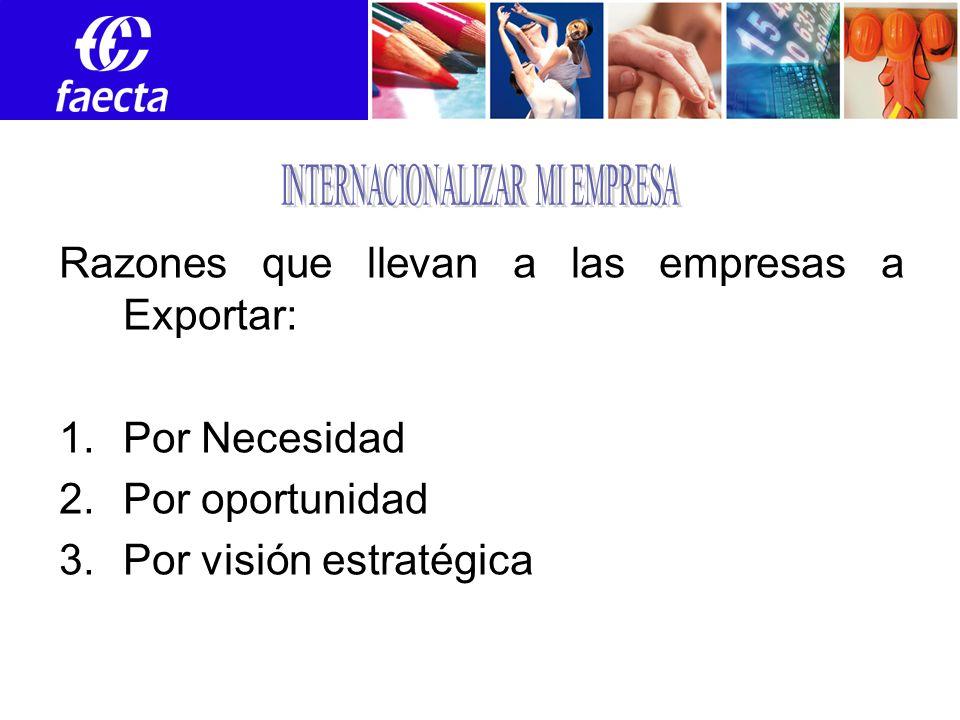 Razones que llevan a las empresas a Exportar: 1.Por Necesidad 2.Por oportunidad 3.Por visión estratégica