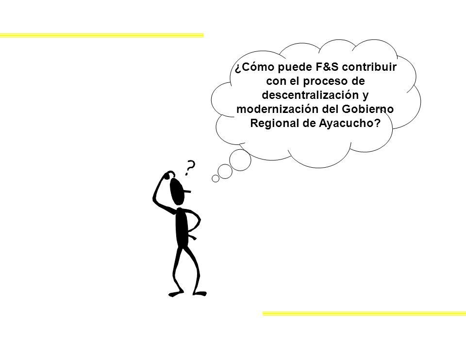 ¿Cómo puede F&S contribuir con el proceso de descentralización y modernización del Gobierno Regional de Ayacucho?