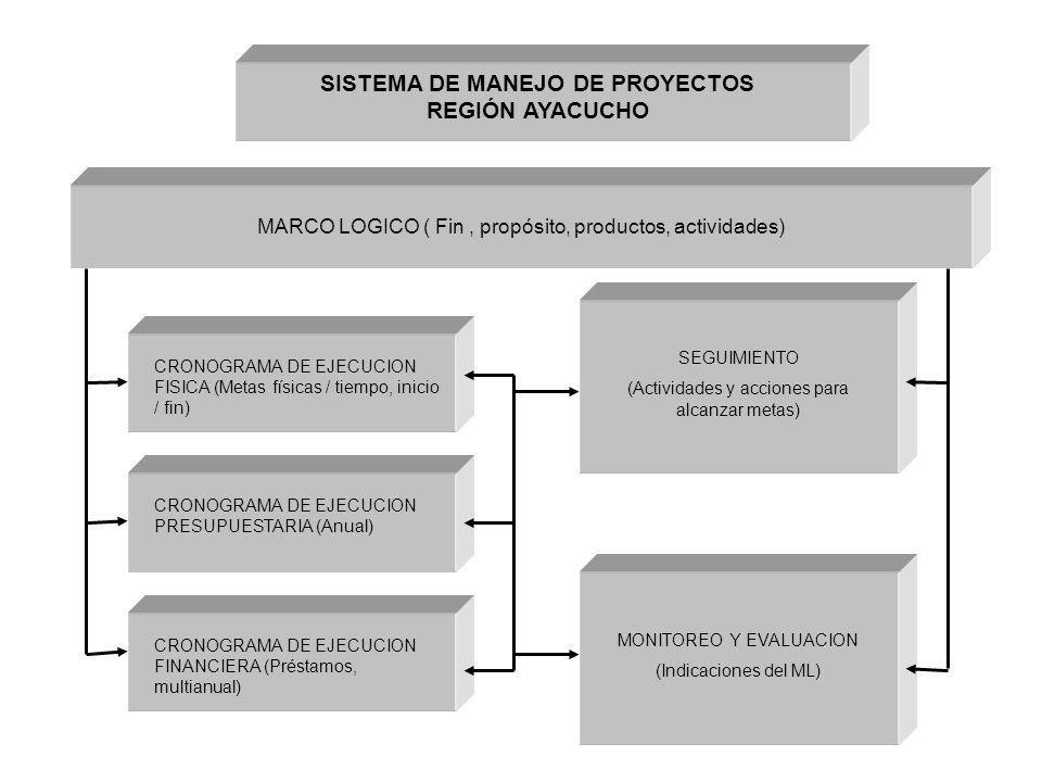 MARCO LOGICO ( Fin, propósito, productos, actividades) CRONOGRAMA DE EJECUCION FISICA (Metas físicas / tiempo, inicio / fin) CRONOGRAMA DE EJECUCION PRESUPUESTARIA (Anual) CRONOGRAMA DE EJECUCION FINANCIERA (Préstamos, multianual) SEGUIMIENTO (Actividades y acciones para alcanzar metas) MONITOREO Y EVALUACION (Indicaciones del ML) SISTEMA DE MANEJO DE PROYECTOS REGIÓN AYACUCHO