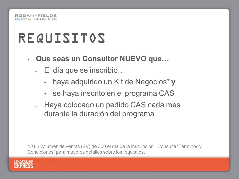 Que seas un Consultor NUEVO que… – El día que se inscribió… haya adquirido un Kit de Negocios* y se haya inscrito en el programa CAS – Haya colocado u